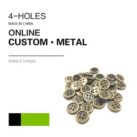 Custom Sewing Buttons / 4 Holes Metal Antique Brass Color Bulk